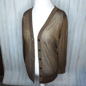 Loft Brown Copper Sheen Cardigan Medium Sheer